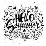 Print for T-shirt. Vector illustration. Grunge style. Hello summer. - stock illustration
