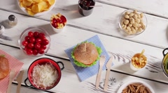 Burgers and brown grain bread. Stock Footage
