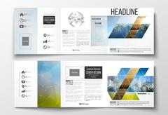 Vector set of tri-fold brochures, square design templates with element of wor Stock Illustration