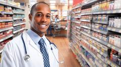 African-american Doctor pharmacist man. Stock Photos