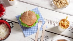 Grain bread and hamburger. Stock Footage