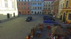 Old Town In Lublin, Poland. Aerial View Stock Footage