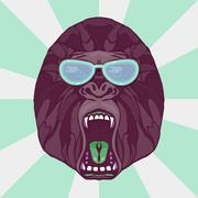 Growling gorilla tattoo - stock illustration