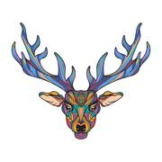 Deer head with horns - stock illustration