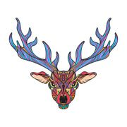 Deer head with horns Stock Illustration