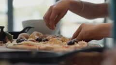 Adding Pizza Toppings, Slow Motion Stock Footage