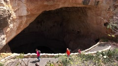 Carlsbad Caverns National Park - Tourists Hiking the Natural Entrance Trail - stock footage