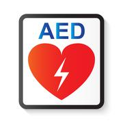 AED ( Automated External Defibrillator ) , heart and thunderbolt ( image for - stock illustration