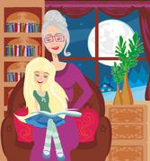 Grandmother is reading a book to her granddaughter - stock illustration