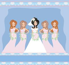 Bride with bridesmaids Stock Illustration
