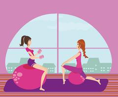 two girls exercising with Pilates fit balls. - stock illustration