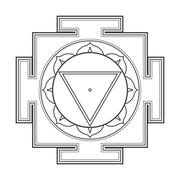 monocrome outline Tara yantra illustration. - stock illustration