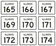 Collection of Illinois Route shields used in the United States Stock Illustration