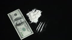 Abundance Cocaine and money dollars - stock footage
