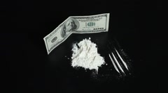 Drugstore cocaine and money - stock footage