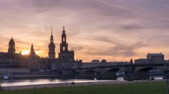 Dresden Skyline Sunset Timelapse Stock Footage