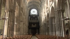 Static shot of the interior of Rouen Cathedral, Stock Footage