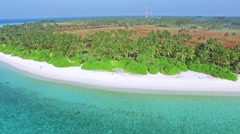 Maldivian island Thoddoo top bird's eye view. Stock Footage