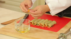 Cannelloni stuffed with vegetable mix - stock footage