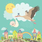 Stork bird with baby - stock illustration