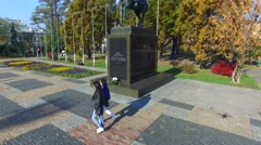 Jozef Pilsudski monument in Lublin Stock Footage