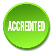 accredited green round flat isolated push button - stock illustration
