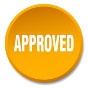 approved orange round flat isolated push button - stock illustration