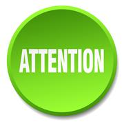 Attention green round flat isolated push button Stock Illustration