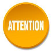 Attention orange round flat isolated push button Stock Illustration