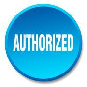 authorized blue round flat isolated push button - stock illustration