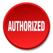 authorized red round flat isolated push button - stock illustration