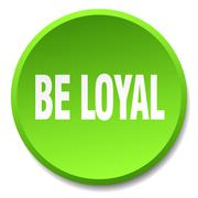 be loyal green round flat isolated push button - stock illustration