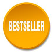 bestseller orange round flat isolated push button - stock illustration