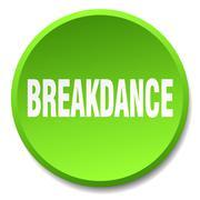Breakdance green round flat isolated push button Stock Illustration