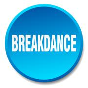 breakdance blue round flat isolated push button - stock illustration