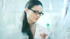 Laboratory worker checking the contents of flask - stock footage