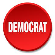 Democrat red round flat isolated push button Piirros