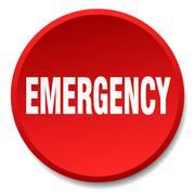 Emergency red round flat isolated push button Stock Illustration