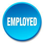 Employed blue round flat isolated push button Stock Illustration