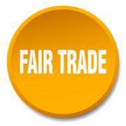 fair trade orange round flat isolated push button - stock illustration