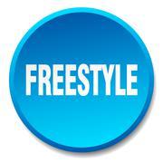 freestyle blue round flat isolated push button - stock illustration