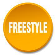 freestyle orange round flat isolated push button - stock illustration