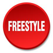 freestyle red round flat isolated push button - stock illustration