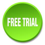 free trial green round flat isolated push button - stock illustration