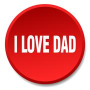 i love dad red round flat isolated push button - stock illustration