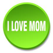 i love mom green round flat isolated push button - stock illustration