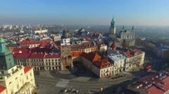 Lublin Old Town, Poland //AERIAL FOOTAGE// Stock Footage
