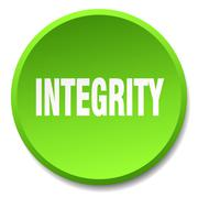 integrity green round flat isolated push button - stock illustration