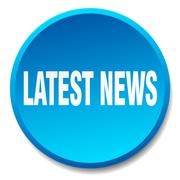 latest news blue round flat isolated push button - stock illustration