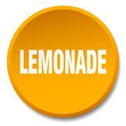 lemonade orange round flat isolated push button - stock illustration
